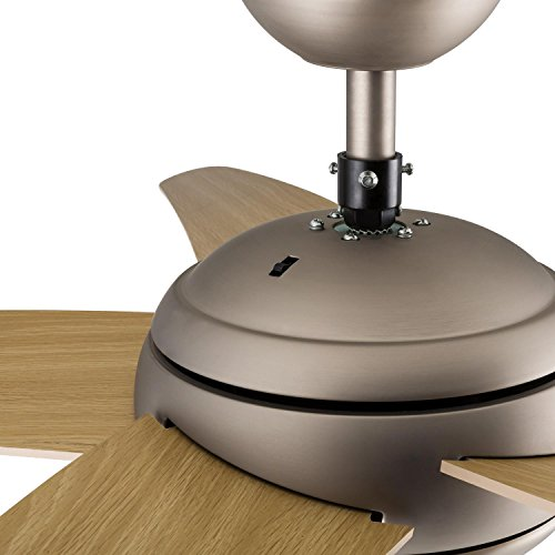Klarstein Bolero • Deckenventilator • mit Beleuchtung • 5 Rotorblätter • 134 cm Durchmesser • zwei Drehrichtungen • niedriger Stromverbrauch • E14 Glühlampe bis 60 Watt • Fernbedienung • hellbraun-silber