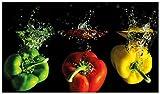 Wallario Herdabdeckplatte/Spritzschutz aus Glas, 1-teilig, 90x52cm, für Ceran- und Induktionsherde, Bunte Küche Paprika in rot gelb orange und grün im Wasser
