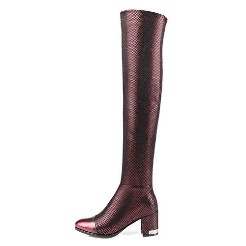 Sur les bottes stretch/Épais talon haut bottes/ l'automne et l'hiver plu taille chaussures femme B