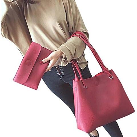 Tongshi Moda mujer cuero Litchi Stria bolso solo bolso de hombro + bolso de embrague
