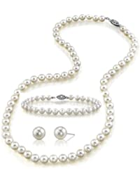 "7-8mm White Freshwater Cultured Pearl Necklace, Bracelet & Earrings Set, 18"" Princess Length - AAA Quality"