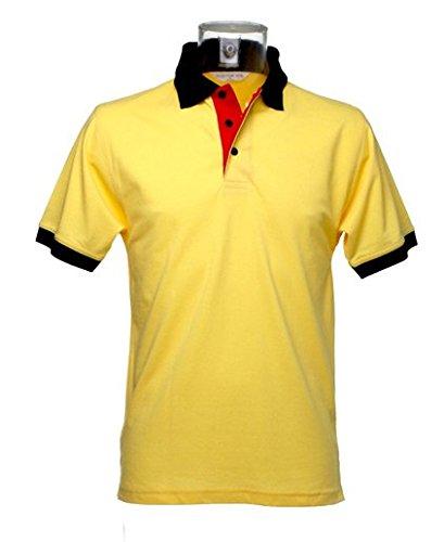 Kustom Kit Workwear Kontrast Herren Polo Shi - Sun Yellow Red pkt Navy trim - XL (Polo Kontrast Trim)