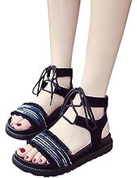 Sandalias y Chanclas Plano para Mujer con Cordones, QinMM Zapatos de Baño Verano de Fiesta Casual Roma de Playa de Vestir