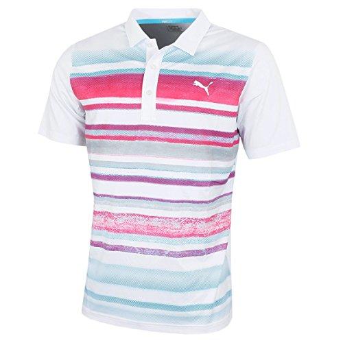 Puma Golf Herren Gewaschene Streifen PC-Polo-Hemd - Bright Weiß/Plasma - L -