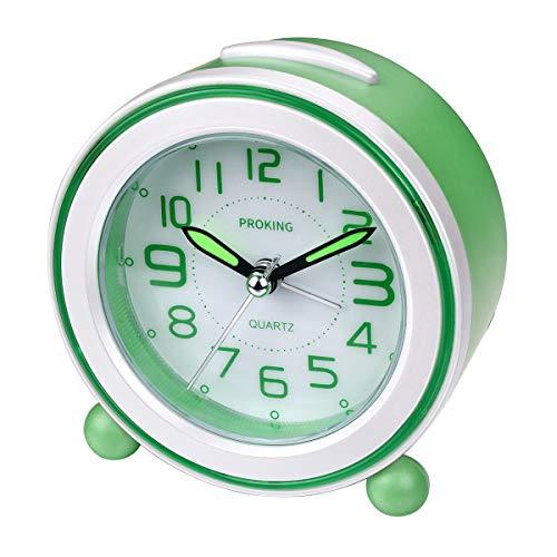 Analoger Wecker, Mini Nicht Tickendes Bett Reise Silent Wecker mit Lautem Alarm, Nachtlicht, Snooze, Batteriebetriebene Weckuhr (Grün)