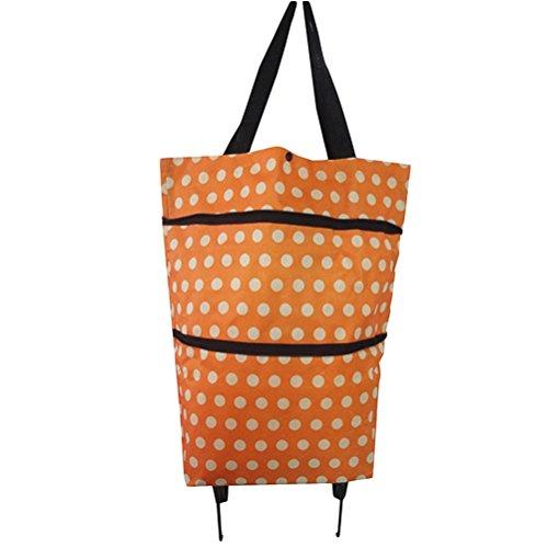 Yardwe Bolsa de la Compra Plegable con Ruedas para Carrito de la Compra, Plegable, Bolsa de Viaje con Ruedas (Lunares Naranja)