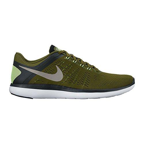 Nike Flex 2016 Rn, chaussures de course homme Kaki/noir