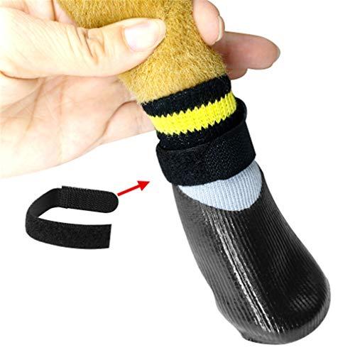 LnLyin Hund Socken Wasserdicht Hund Stiefel Hund Schuhe Anti-Slip Hund Socken Pfote Schutz Hund Stiefel Wasserdicht Soft Schutz und Rutschfeste, 3 - Hund Regen-socken