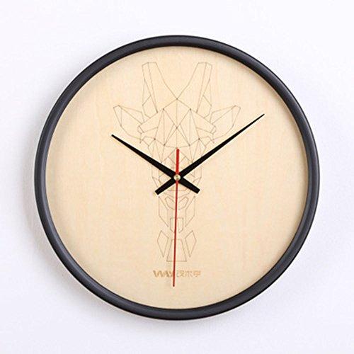 OLILEIO 12 nordiques en bois 81 cm Réveil Réveil Table Salon Design de la tête de cerf en ligne Silence Horloge murale en bois décorer ronde,girafe