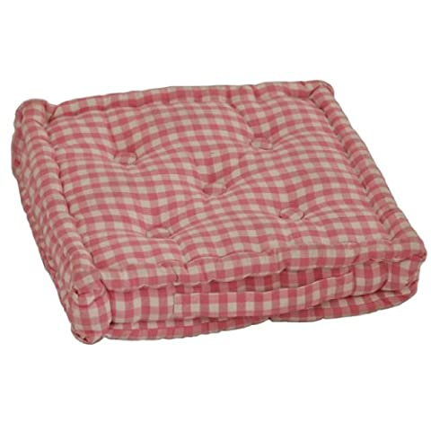 Homescapes Pink & White GINGHAM Check Floor Cushion - 100% Cotton - 40 x 40 x 10 cm Square - Indoor - Garden - Dining chair booster Seat Cushion Pad