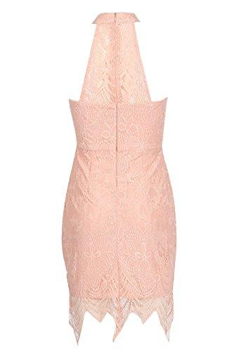 Ladies Lace Halterneck Robe moulante EUR Taille 36-42 Nu