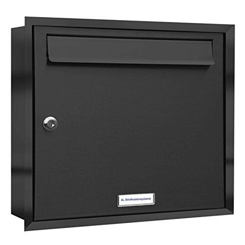 AL Briefkastensysteme, 1er Unterputzbriefkasten in Anthrazit Grau RAL 7016, Briefkastenanlage 1 Fach, Postkasten modern