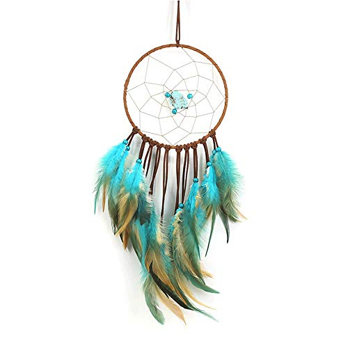 Handgemachte Dreamcatcher mit Federn Türkis Traumfänger Single Ring Vintage Traumfänger Brown Fringe Dreamcatcher Weben Dreamcatcher für Wandbehang Wohnkultur Ornamente Handwerk -