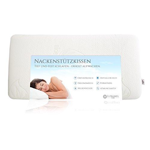 Luxamel Nackenstützkissen Nackenkissen mit Aloe Vera Kissenbezug, HWS Kopfkissen, orthopädisches Viskosekissen Allergiker-Freundlich (70x40x12)