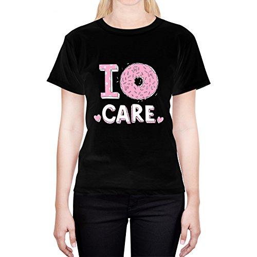 Head Case Designs Donut Care Strati Pastello L - Large Nero T-Shirt Donna