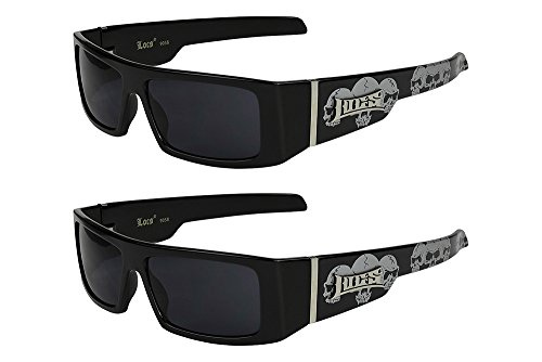 2er Pack Locs 9058 X06 Sonnenbrillen Unisex Herren Damen Brille - 1x Modell 07 (schwarz glänzend - Skull-Design / schwarz getönt) und 1x Modell 07 (schwarz glänzend - Skull-Design / schwarz getönt) (Locs Sonnenbrille Skull)