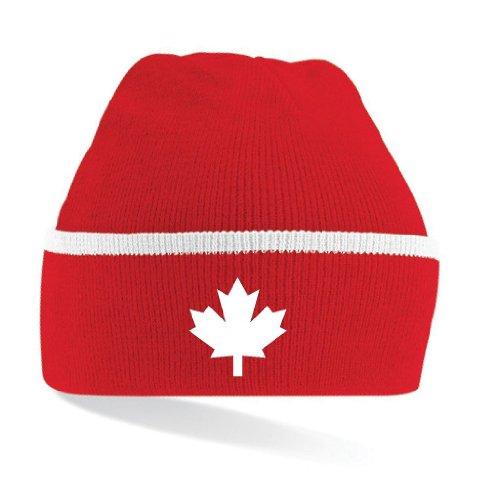 Canada / Kanada Strickmütze Teamwear|gestreift rot