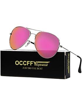 Occffy Gafas de sol Para Hombres y Mujeres con Marco Metal UV400 Protección