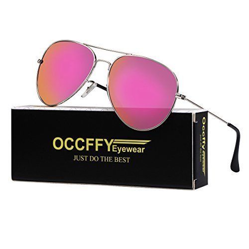 Occffy Pilotenbrille Sonnenbrille für Herren und Damen UV400 Schutz Metall Rahmen Oc7802 (Silberrahmen mit Rosa Spiegellinse)