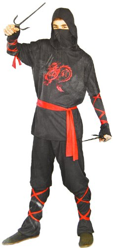 Kriegerisches Ninja Helden Samurai Kostüm 4 Teile Drachenprint Verkleidung Karneval Fasching Kinder Oberteil Hose Maske Schärpe