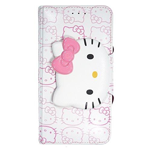 WiLLBee Galaxy S9Plus Case Süße Hello Kitty Tagebuch Wallet Flip Synthetisches Leder/Stoßdämpfung/Trageriemen im lieferumfang [Samsung Galaxy S9Plus] Cover, Button Face White (Galaxy S9 Plus)