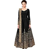 CHEMAX Women's Embroidered Taffeta Silk Semi Stitched Anarkali Gown(FREE SIZE)
