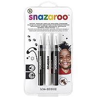 Snazaroo Set de 3 Rotuladores de Maquillaje, color blanco y negro (x2)