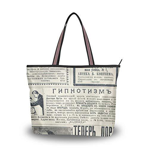 Emoya Damen Tote Schultertasche Old Newspaper Top Handle Satchel Handtasche L, Mehrfarbig - multi - Größe: Large -
