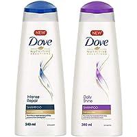 Dove Intense Repair Shampoo, 340ml And Dove Daily Shine Shampoo, 340ml