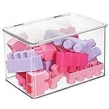 mDesign Organizador de juguetes con tapa - Cajas de almacenaje para guardar juguetes bajo la cama o...