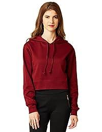Miss Chase Women's Maroon Hooded Boxy Crop Sweatshirt