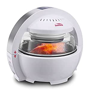 Hometech Patented 1200W 13L Digital Multi-functional Spaceship Air Fryer with Stainless Steel Container, Healthy Fat & Oil-Free, 6 One-touch Cooking Options Bake Kitchen Cooker, Perfect for Roast, Grill, Fry, BBQ( White )