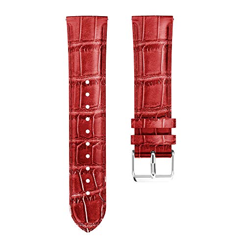 Altsommer Armband 20mm für Samsung Galaxy Watch 42mm Vintage Echtes Leder Vintage Band Strap Sportarmband Edelstahlschließe Schnellverschluss für Herren Frauen,Weiß,Braun,Blau (Rot) Echtes Leder-band