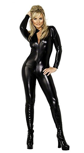 HAIYUANNAN 2 Way Zip Catsuit Wet Look Sexy Patent Leather Body Suit, S