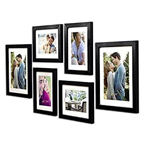 Art Street - Set of 6 Individual Black Wall Photo Frames Wall Hanging(Mix Size) (4 Units 6X8, 2 Units 8X10 inch)|| Free Hanging Accessories Included ||