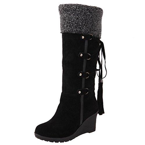 AIYOUMEI Damen Keilabsatz Kniehohe Stiefel mit Schnürung Bequem Modern Keilstiefel