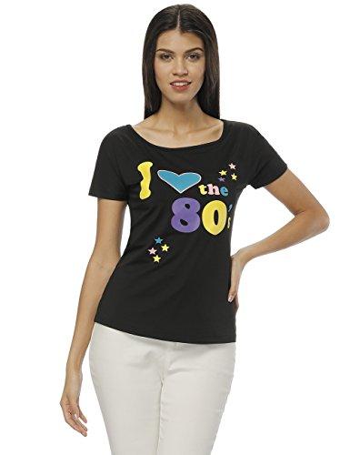 Queenromen Frauen Ich Liebe die 80er Jahre T-Shirt Damen Popstar Top Kostüm Outfit Schwarz L
