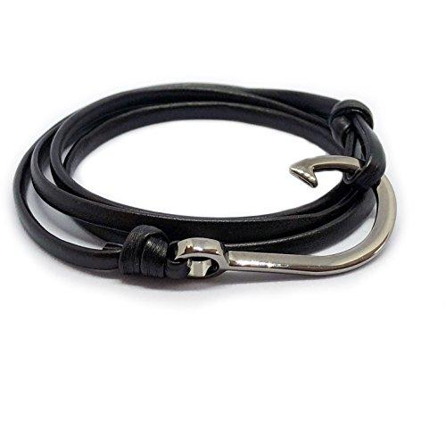 "Design in Leather maritimes Haken Leder Armband sicherer Hafen 4.1"" Wickelarmband inkl. Geschenktasche (Schwarz/GunMetalBlack/Harken)"