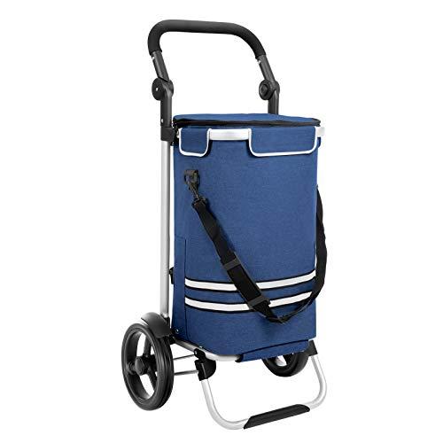 SONGMICS Stabiler Einkaufstrolley, klappbar, mit Kühlfach, multifunktional, Einkaufswagen mit Reflektoren, Shopper, Handwagen, abnehmbare Tasche, Rollen, blau KST02BU