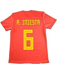 LICECIA DE LA REAL FEDERACION DE FUTBOL ESPAÑOLA Camiseta Iniesta Infantil España. Producto Oficial Licenciado