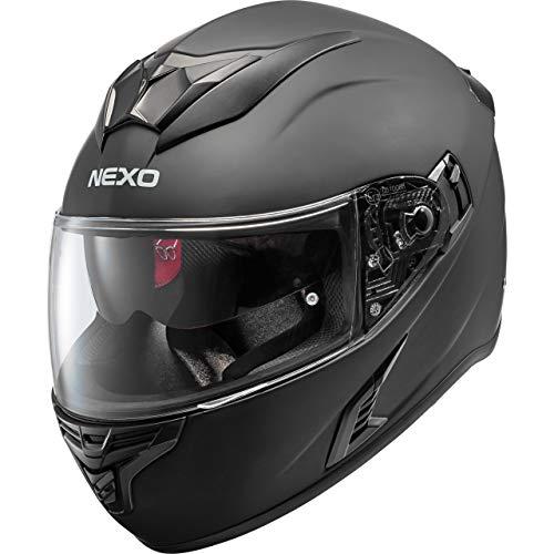 Nexo Motorradhelm, Vollvisierhelm, Integralhelm Fiberglas, Kinn-, Kopfbelüftung, Doppel-D-Verschluss, Sonnenblende, matt Schwarz, XXL