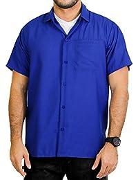 La Leela rayonne de aloha hommes bouton plaine manches bas robe courte chemise de coupe classique xs bleu - 5XL