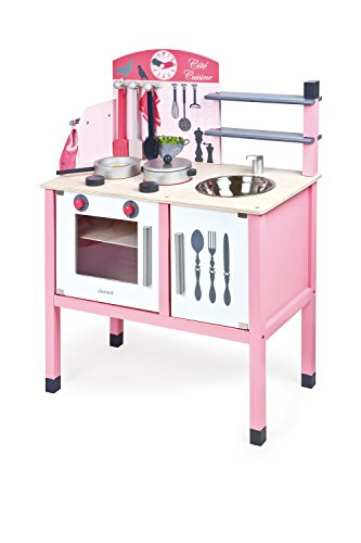 Janod Maxi cocina de madera, Mademoiselle (rosa) (J06533)