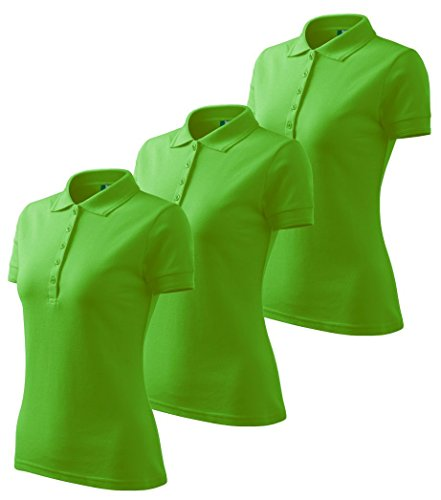 Dress-O-Mat Damen 3er Pack Poloshirt T-Shirt Polohemd Tailliert Gr M Apfel Grün (Grünes Gras Mat)