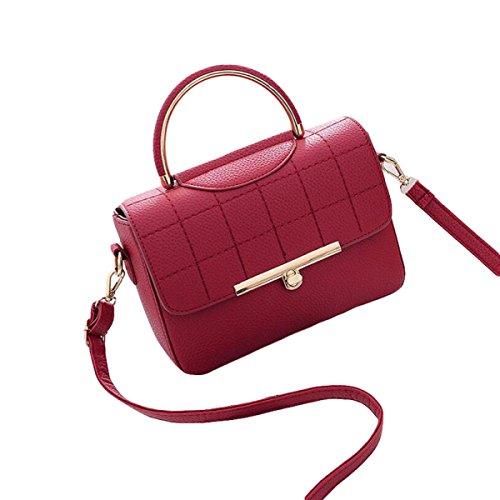 Damen Wilde Umhängetasche Mode Handtasche Kleine Quadratische Tasche Messenger Bag Einfache Atmosphäre Elegant Red1