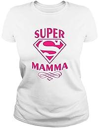 IDEAMAGLIETTA MAM0011 Maglietta t-Shirt Donna Super Mamma 3 Idea Regalo Festa della Mamma