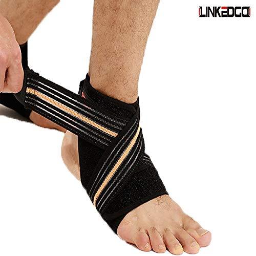 LinkedGo Knöchel-Kompressionsbandage, atmungsaktiv, für Laufen, Basketball, Knöchel, Verstauchung, Müdigkeit (Einheitsgröße), Links - Mcdavid Knöchel-wrap
