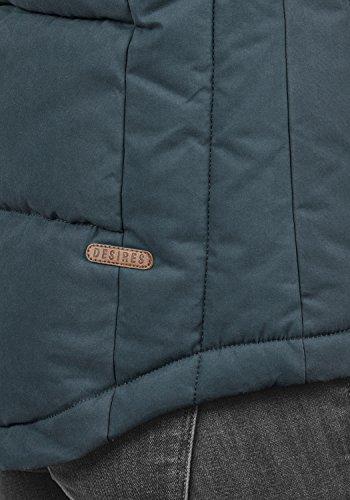 DESIRES Lore Damen Stepp-Weste Übergangsweste mit Kapuze und Teddy-Futter aus hochwertiger Baumwollmischung Insignia Blue (1991)