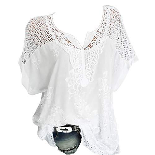 Für Kostüm Nerd Essentials Ein - TOPSELD T Shirt Damen, Frauen-Sommer O-Ausschnitt Kurzarm AushöHlen Feste BeiläUfige,Blusen Spitzen T-Shirt