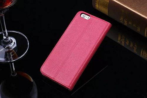 EKINHUI Case Cover Litchi Haut-Beschaffenheit Hochwertige echtes Leder-Standplatz-Fall-Abdeckung mit Einbauschlitz für IPhone 6 u. 6s ( Color : Rose ) Rose